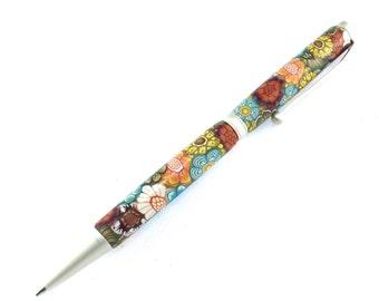 Satin Polymer Clay Twist Pen, Colorful Flower design