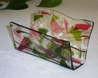Fused Glass Business Card Holder -  Pink and green 12225