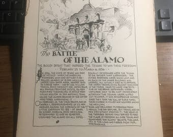 Remember the Alamo the battle of  1836 1933 book page history print illustration . Art frameable history