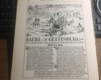 The Battle of Gettysburg 1863. 1933 book page history print illustration . Art frameable history