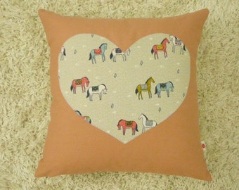 Heart Pillow - Cover - Decorative Pillow -  Nursery Decor - Salmon - Horses - Equestrian - Western