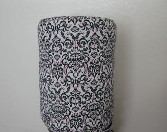 Black Damask 5 Gallon Bottle Cover cooler Decor-Black White and Pink