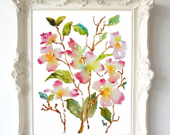 Dogwood Inspiration, Watercolor Flowers, Fine Art Print, 8x10