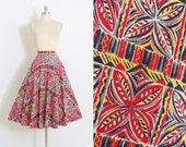 Reserved /// Vintage 50s Skirt | 1950s skirt | colorful mosaic print cotton by Gurian | M medium | 5859