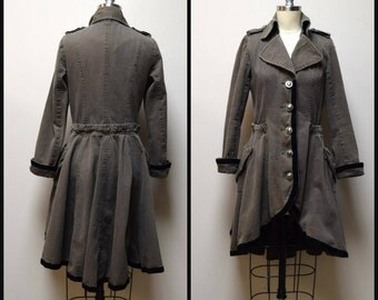 TWENTY ONE/21 Degrees Olive Khaki Taupe Military Steampunk Coat Overcoat XS