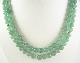 Aventurine Necklace Green Gemstone Necklace Long Green Aventurine Necklace Long Silver Green Aventurine Strand Long Green Bead Necklace