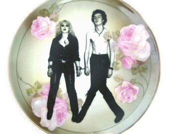 Sid and Nancy Altered Vintage Plate 10""