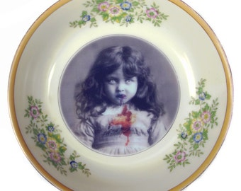 Portrait Bowl.   Lucy the Zombie Girl 5.3""