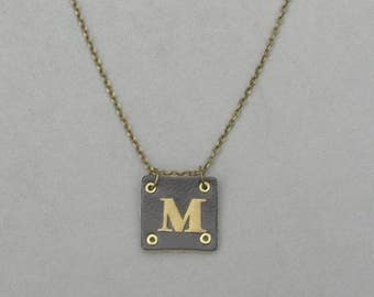 Square Leather M Necklace