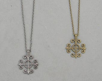 Antique Brass or Gunmetal Cross Necklace