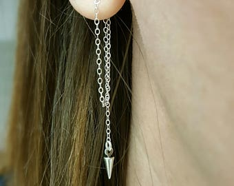Sterling silver earring jackets FREE SHIPPING spike chain