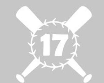 baseball bat personalized window decal
