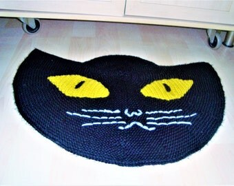 Black cat lover gift, decor, door mat, cat doormat, knit door mat, blackcat mat, hand knit mat