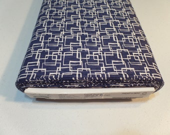 David Walker Fabric - Jeans & Things Collection - Squared Indigo - Blue and White Color - Freespirit