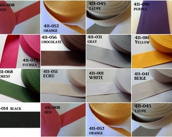"2"" Cotton/Polyester Webbing Strap in Colors by Stephanoise de Rubans Per Yard"