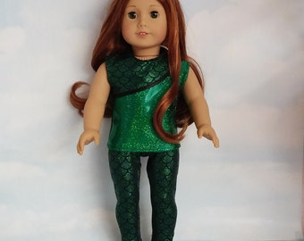 18 inch doll clothes - Green Mermaid Leggings and Top handmade to fit the American girl doll - FREE SHIPPING