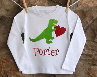 Valentines Dinosaur Shirt - Boys Valentine Shirt - Valentine's Applique Shirt - Boys personalized Shirt - Valentine's Day