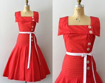 Vintage 1950s Dress - 50s Red Cotton Sailor Dress