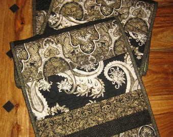 "Quilted Table Runner, Black White Gold Paisley Modern Contemporary, 13.5 x 72"", Reversible Handmade Free Shipping"