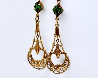 Long Green Crystal Earrings, Emerald Green Earrings, Antique Brass Filigree Earrings, Victorian Earrings, Fleur de Lis, May Birthstone Gift