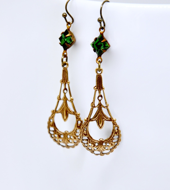 Long Green Crystal Earrings Emerald Green Earrings Antique