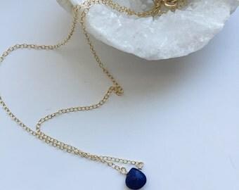 Lapis Lazuli Necklace, Blue Lapis Necklace, Dainty Necklace, Floating Lapis Pendant, Blue Lapis Necklace, Delicate, Lapis, Blue Gemstone