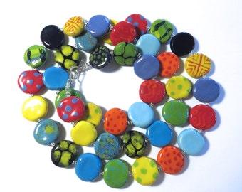 Beaded Necklace, Kazuri Beads,  Fair Trade, Ceramic Jewellery, Rainbow Colours