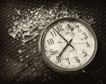 Time Stands Still, Clock, Black and White Photography, Abandoned Mill - 8x12 Fine Art Print on Aluminum