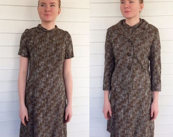 50s Brown Dress and Jacket Vintage 36 Bust S Justin McCarty