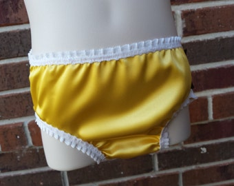 Toddler and Youth Girl's Satin Underwear Panties with Lace Elastics - Optional Matching Camisole - 3179