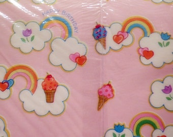 2 Sheet Package Vintage Birthday Wrapping Paper Rainbows Ice Cream Clouds Pink Girls Retro Vtg USA Made in New NOS