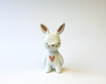Animal totem - Bunny miniature - Clay animal small figurine- made to order