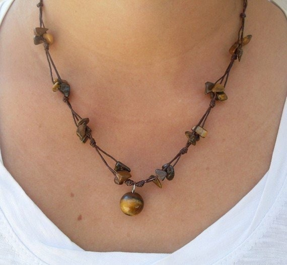 Handcrafted Yellow Tigers Eye Beaded Wax Cotton Pendant Choker Summer NECKLACE Thai Jewelry