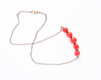 Red Bead Kazuri Necklace - Red Kazuri Bead Statement Necklace - Ceramic Bead Ethical Jewellery -  Gift for Her - Chain Necklace - Bronze