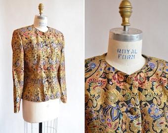 Vintage 1980s PORTS metallic brocade blazer