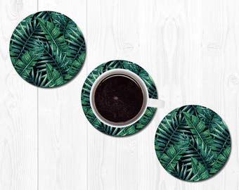 Coaster Coasters for Drinks Leaf Leaves Hostess Gift New Home Gift Housewarming Gift Banana Leaf Coasters Tropical Coasters Home Decor Black