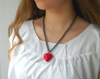 Red heart necklace, Valentine's day gift for her, romantic jewelry, Silver Aluminum chain statement necklace
