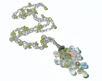 Rainbow Quartz & Vessuvianite Tassel Necklace / Sterling Silver / Adjustable / Pendant / Olive Green / Gemstone / Wire Wrapped / OOAK