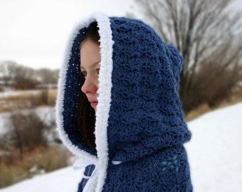 Crochet hooded cape child medium country blue white cloak Halloween costume accessory long winter children warm ribbon ties shell stitch