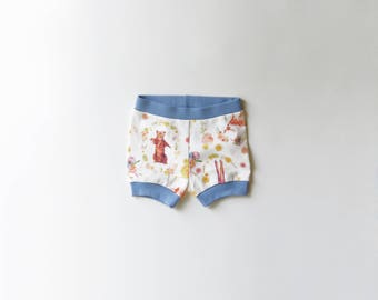 SALE | 50% OFF | Size 6-12 Months | Woodland Animals | Organic Shorties | Shorts | Organic Baby | Bears | Deer | Fawn | Moose | Flowers