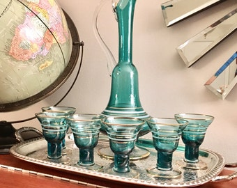 Mid Century Decanter and Glasses Set
