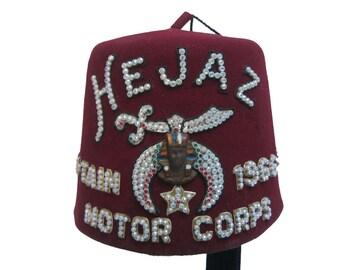 Vintage Shriners Fez Hat Hejaz Captain 1966-67-68 Motor Corps Fraternal Masonic Red Fez with Tassel