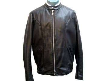 Brooks Sportswear Cafe Racer Motorcycle Jacket Vintage Mens Black Leather Euro Style Biker Jkt Mns US Sz 42 Fits Sz Large Made In The USA