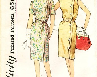 Sz 20/Bust 40 - Vintage 1960s Dress Pattern - Simplicity 4860 - Misses' Slim Fitting One-Piece Dress and Tie Belt in Two Variations