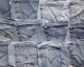 16 Denim Jeans Pockets - Craft Supplies - Upcycle and Repurpose - Blue Pockets for DIY Projects - Handmade Supply - Surplus - Levi's Jeans