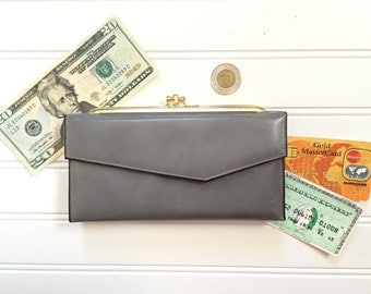 Womens Leather Wallet - Checkbook Wallet - Coin Pocket - Vintage Wallet Women - Check Book Holder
