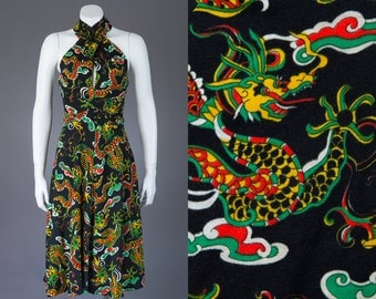 vintage 1970s halter dress | novelty print Chinese dragon
