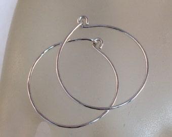 Hammered Sterling Silver Hoop Earrings In Five Sizes .75 Inch, 1 Inch, 1.5 Inch, 1.75 Inch or 2 Inch, Sterling Silver Jewelry