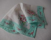 Handkerchief Ladies Vintage Flower Hanky Chic Shabby Pale Aqua, Home Decor, Perch and Patina