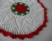 Crochet Doily Vintage Red and White Romantic Farmhouse Home Decor